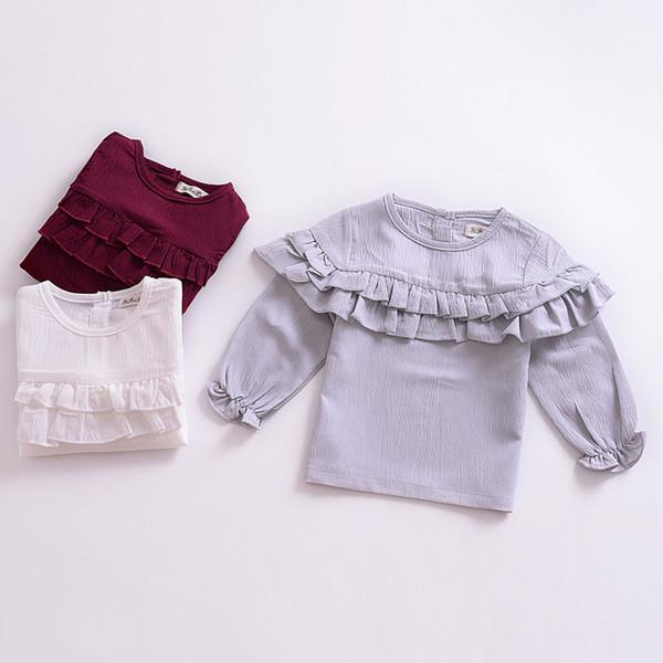 Baby Mädchen Rüsche T Shirts 2019 Frühling Herbst Hauchhülse Tops Baumwolle Kinder Tees Kinder Kleidung 3 Farben Lotusblatt Bottoming Hemd C5772