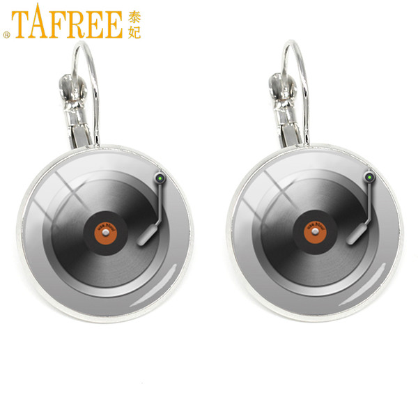 TAFREE Music Sheet Earrings CD Record Disc classical clip on earring Fashion glass Women accessories Rhodium Plated jewelry H493