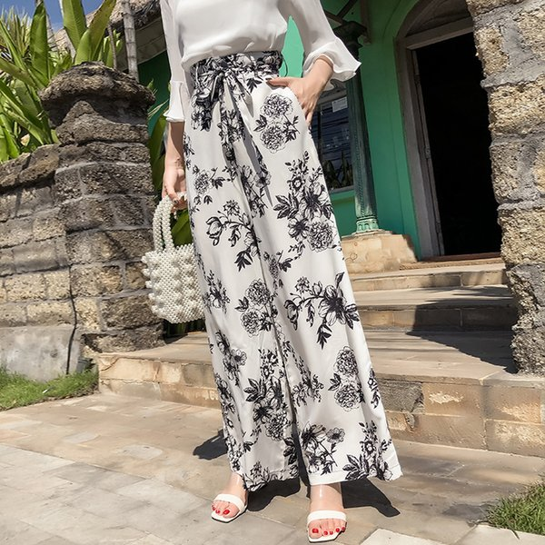 PottisNew Holiday Large Size Bohemia Wide Leg Pants Beach Travel High Help Printing Trousers Q190531