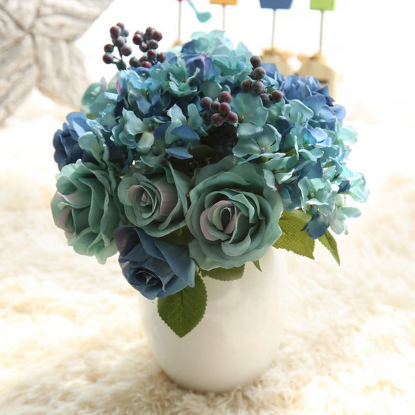1 Bunch 6pcs Artificial Flowers Blue Rose Silk Flower Bouquet For Home Decoration Hydrangea Fake Flower With Plants Berry