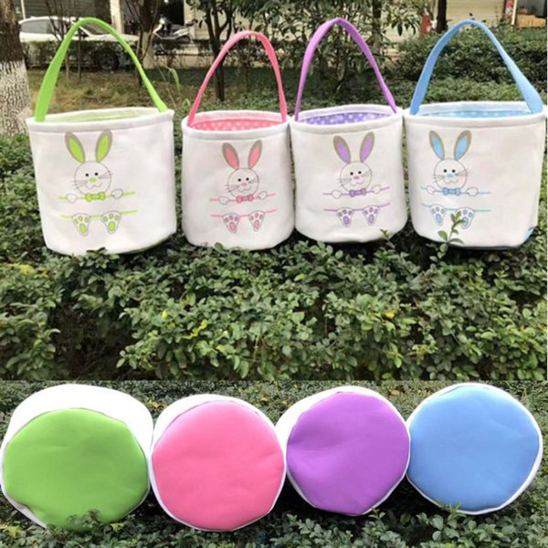 Easter Basket Rabbit Bunny Ears Canvas Bucket Bags Easter Eggs Hunt Bags For Kids Gifts 4 Colors HH7-1989