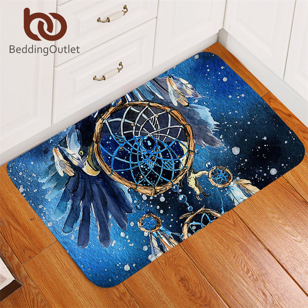 Ropa de cama Alfombras de baño de atrapasueños antideslizantes Águila calva del baño del águila Alfombras bohemias de la puerta Interior Azul Galaxy tapete 40x60 cm