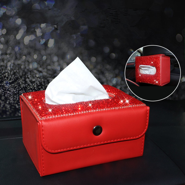 Red Car Tissue Box avec bling bling cristaux Tableau de bord en cuir tissu couverture Siège arrière Hanging papier Container serviette pour les femmes