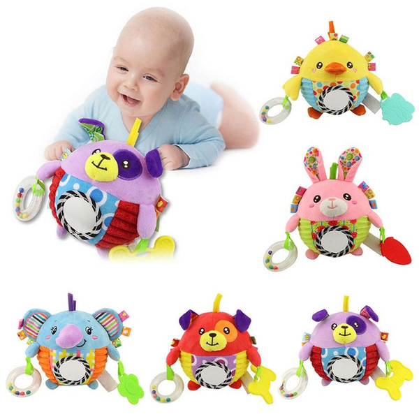 Baby Plush Toy Cute Cartoon Hand Grab The Bell Ball Safe And Harmless Newborn Teether Children's Bell Educational Toys