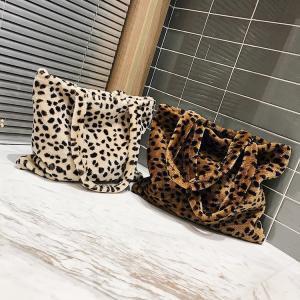 Leopardenmuster Kunstpelz Handtasche 2 Farben Plüsch Tote Vintage Mode Samt Umhängetasche Einkaufstaschen OOA6102