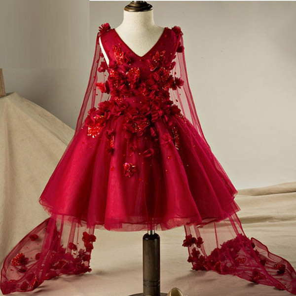 Burgundy Flower Girl Dresses Ball Gown Princess With Lace Flowers Holy Communion Dresses with Tulle Cape Pageant Gown YTZ135