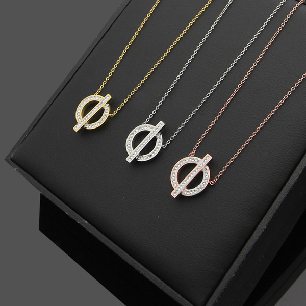 New Arrive Fashion Lady Titanium steel 18K Plated Gold Necklace With Hollow out Full Diamond H Letter Pendant 3 Color