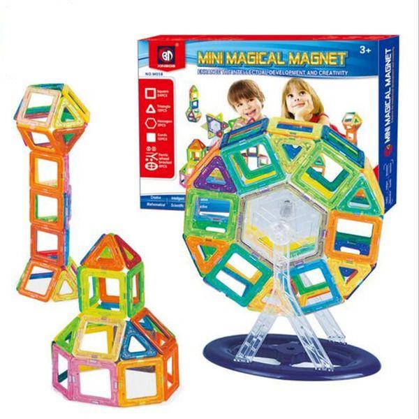 58pcs blocs de construction magnétique fixe Jeux de construction enfants blocs créateur Couleurs arc Magnet bloc Jouets pour enfants cadeau de Noël