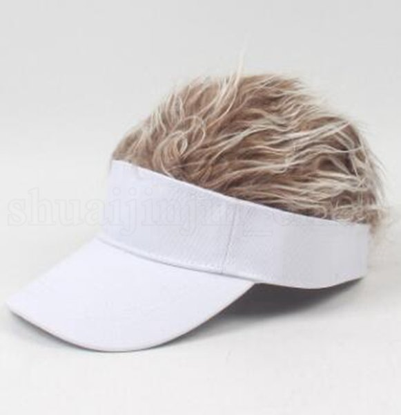 peluca café café sombrero blanco