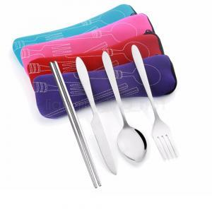 fork spoon chopsticks set with Lunch bag kids 4pcs/lot travel stainless steel tableware portable camping bag picnic AAA1629
