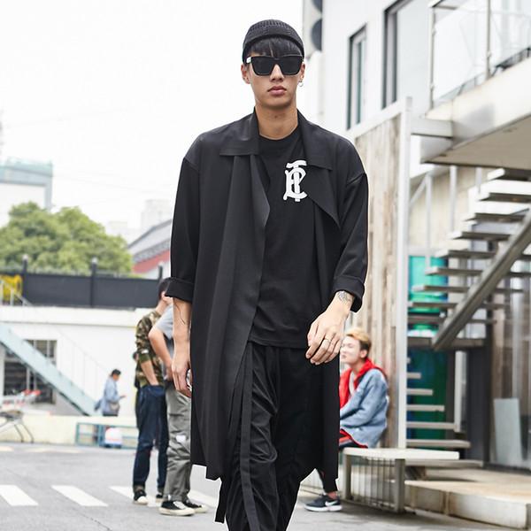 Fashion Casual Male Long Cardigan Punk Gothic Jacket Streetwear Hip Hop Loose Overcoat Men Dark Black Trench Coat