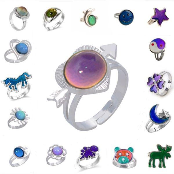 Los niños star moon dolphine emoji cambian los anillos de color de moda al por mayor cambiando de color anillo de humor al por mayor