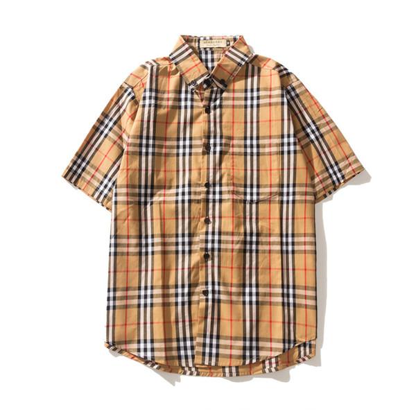 Hombre Mujer Camisas de diseñador 2019 Ropa de lujo en verano Diseñador Camisa a cuadros Hombres y mujeres Marca Camisa casual de manga corta Tamaño M-XXL.