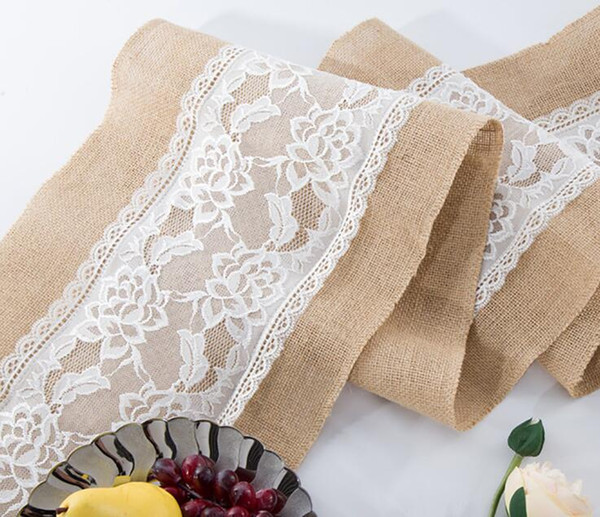 top popular Linen Lace Table Runner Vintage Burlap Lace Table Runner Natural Jute Country for Party Wedding Decoration 2019