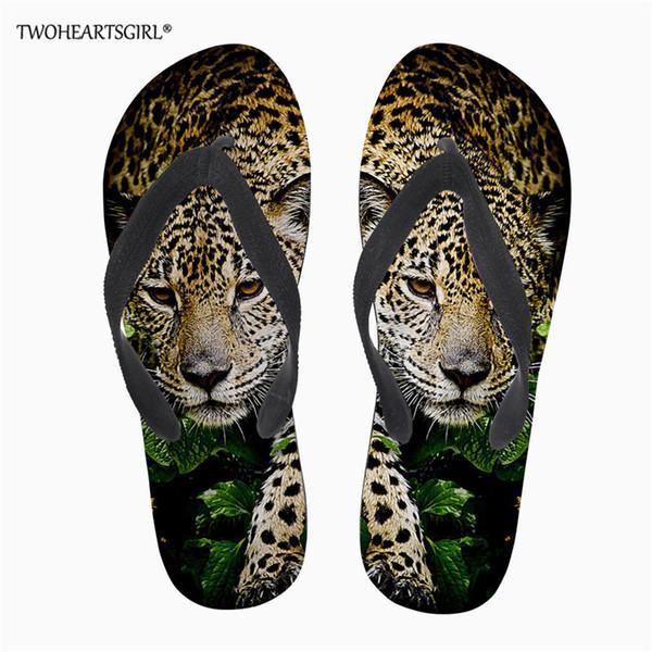 Twoheartsgirl Leopard Print Ladies Flipflops Women Summer Beach Slippers Breathable Flip Flops Female Casual Slippers Sandals