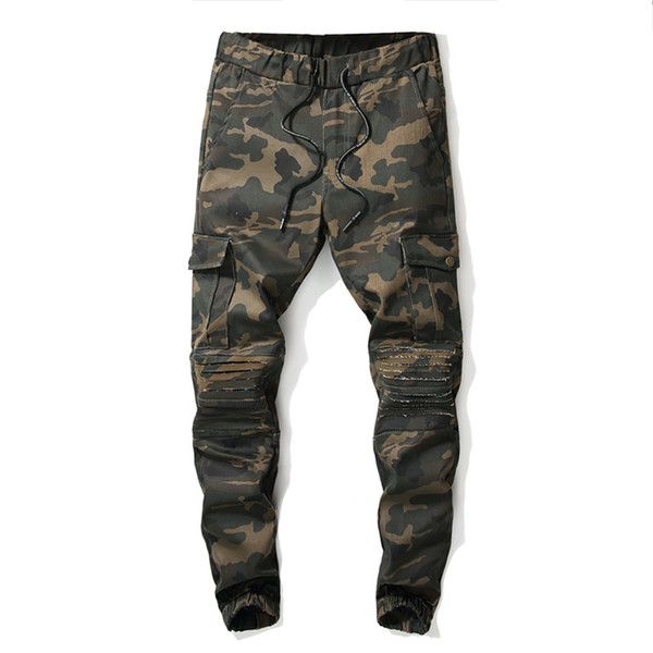 2019 Men's cool spring fashion camouflage full length pants casual multi-pocket overalls sports pants jogging 5.24
