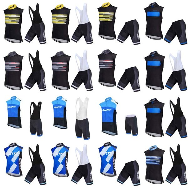 Hot sale new GIANT Cycling Sleeveless jersey Vest bib shorts sets Tour de France sport Bicycle MTB clothing Breathable Quick dry F0808