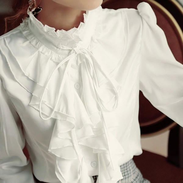 Blusa Ruffled Camisa de Gola Alta Manga Longa Blusas Formais Top Mulheres Do Vintage Branco Preto Plus Size 4xl