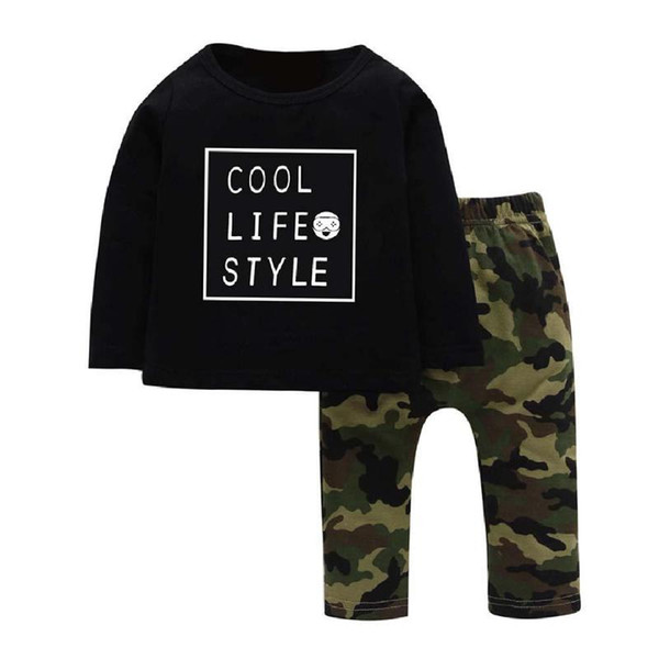 wholesale-Camo Printed Baby Clothes Set 2pcs/set Boys Girls Letter Print Tees Long Sleeve Tops Kids Pants Clothing For 4-7Years Children