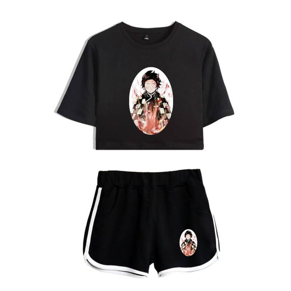 AMOMA Anime Demon Slayer Kimetsu no Yaiba Shorts and Crop Top Sets Casual Tracksuit Streetwear for Women Girls