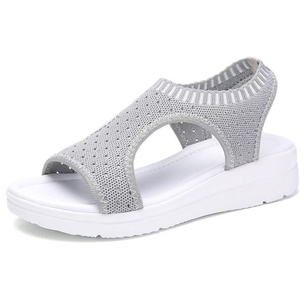 Mulheres verão Sandálias Plus Size 35-45 Cunha Sapatos de Malha Respirável Feminino Peep Toe Senhoras Slip-on Confortável Sapatos Das Senhoras