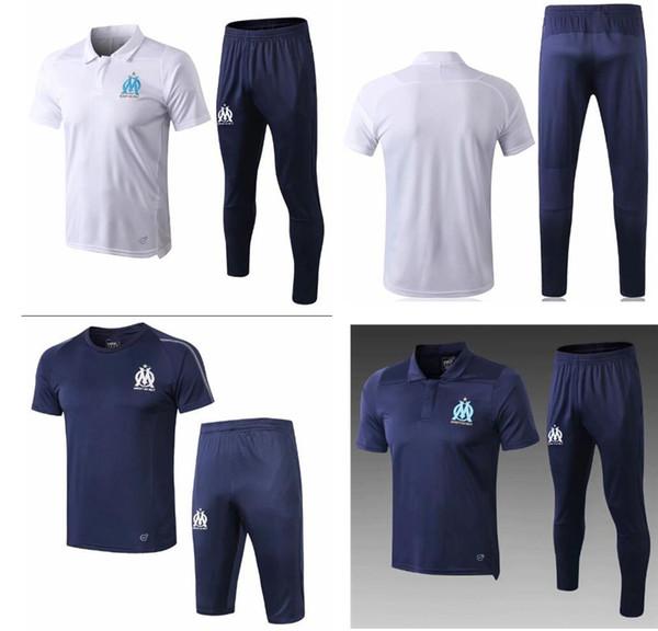 2018-19 neue Marseille Kurzarm 3/4 Hosen Fußball Trainingsanzug 18 19 Training Fußball Kits Herren Sport Training Erwachsene Anzug