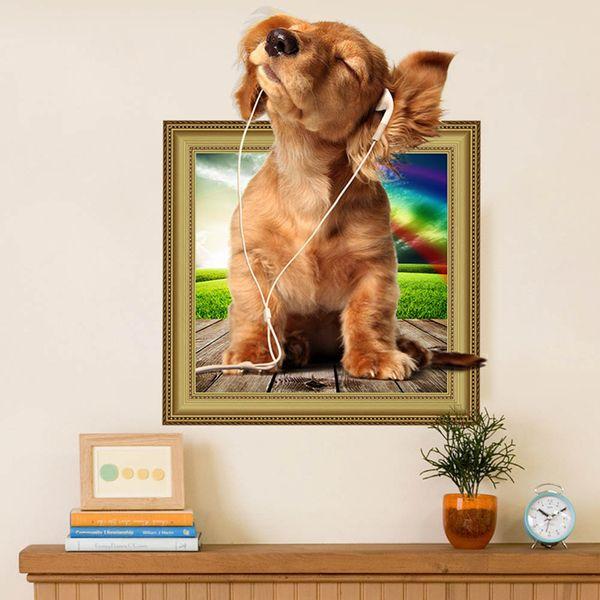 Sıcak DIY 3D yavru köpek Duvar Sticker PVC zemin Dekor Ev Dekorasyon odası Çıkartmaları Duvar Sanat Duvar Kağıdı Çıkartmalar Yeni