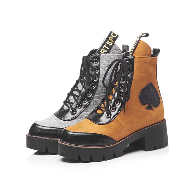 2018 Платформа обувь Женская мода Марка Мартин сапоги Cross-tied Леди chaussure осень новый женский footware ботильоны