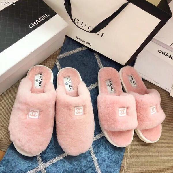 lujoLas mujeres de lujo de diseño cómodo de lana caliente del hogar zapatillas rosas Zapatos de la manera linda chica a casa antideslizante sandalias Lazy Flip Flop