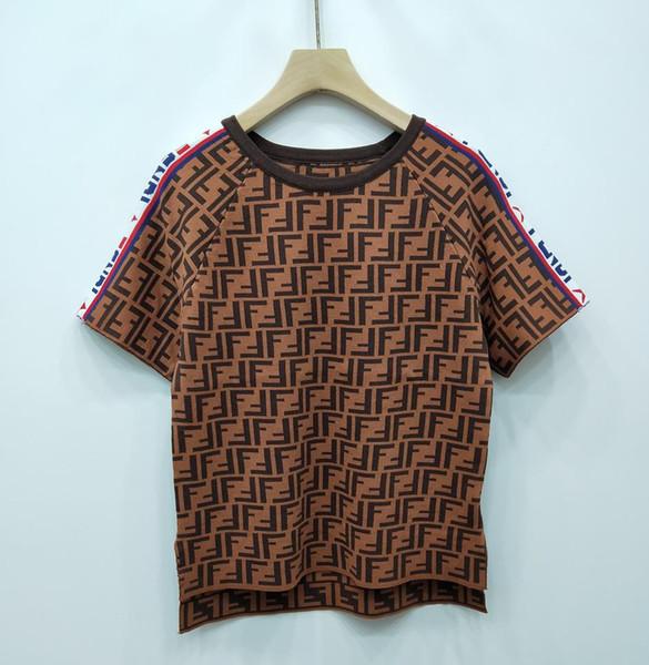 2019 sommer Frauen Designer T Shirts Dünne Hochwertige Luxus Casual Ice Silk Stoff Brief Tops Frauen Designer Kleidung Größe S-L