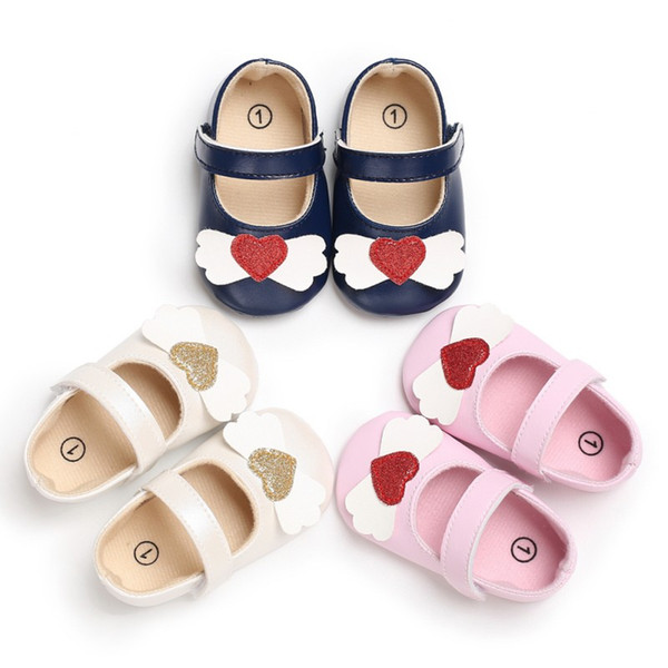 Baby Princess Heart PU Shoes Soft Bottom Anti-skid Spring Autumn First Walkers Prewalkers