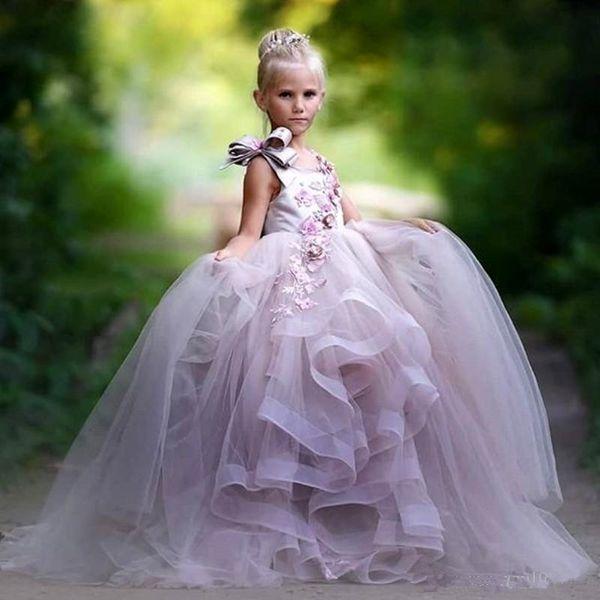 2019 Lumière Lavendar Fleurs Filles Robes Dentelle Tieres À Volants Enfants En Bas Âge Pageant Robes Plus La Taille Formelle Robe De Soirée Princesse Pour Le Mariage