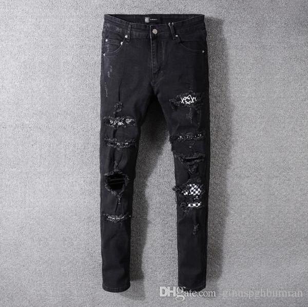moda jeans Amiri Europa maschile e dell'America pantaloni piedi micro-elastico strada alta cerotto foro punk vento