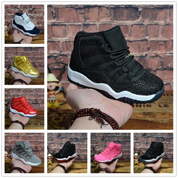 Acheter Nike Air Jordan Aj11 2018 11 Baskets Basses Pour Enfants Sports De Plein Air Baskets Pour Enfants Gym Rouge Chicago Midnight Navy Garçon