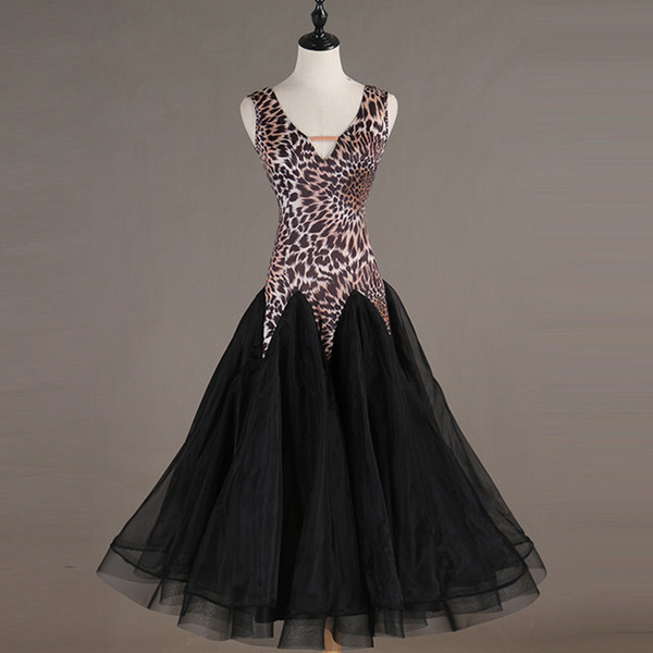 Leopard ballroom dance competition dresses woman kids standard ballroom dress waltz dress dance dresses woman kids girl