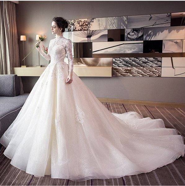 High-Quality Wedding Dresses White Translucent Long-Sleeved Collar Qi Large Tail Lace Appliqu Dresses Sheer Neck Bridal Gowns