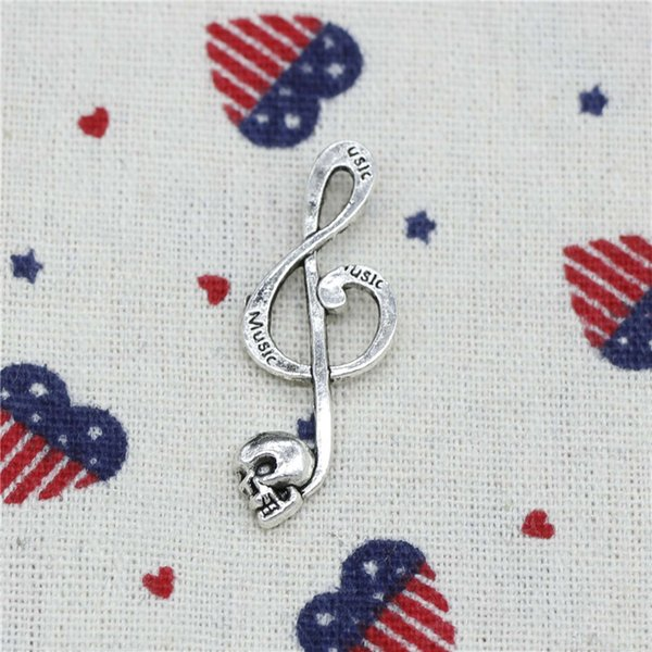 132pcs Charms Skull music 42*15mm Pendant,Tibetan Silver Pendant,For DIY Necklace & Bracelets Jewelry Accessories