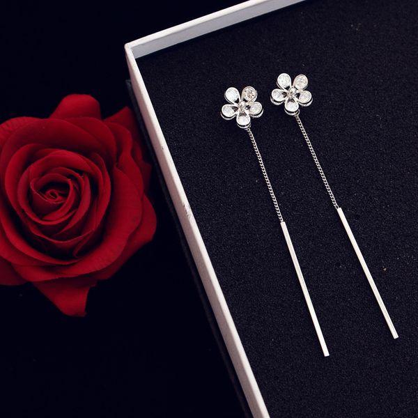 Корейский темперамент популярные Циркон цветок серьги мода тенденция роскошные Циркон серьги красоты длинные кисточкой серьги цветок модели