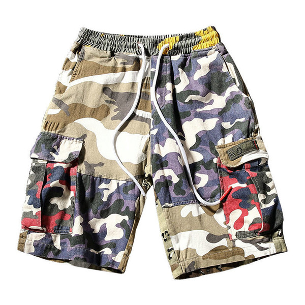 Casual Camouflage Mens Shorts Summer 2018 New Camo Stitching Shorts Men Hip-hop Street Style Mens Cargo Shorts Plus Size M-5xl J190509
