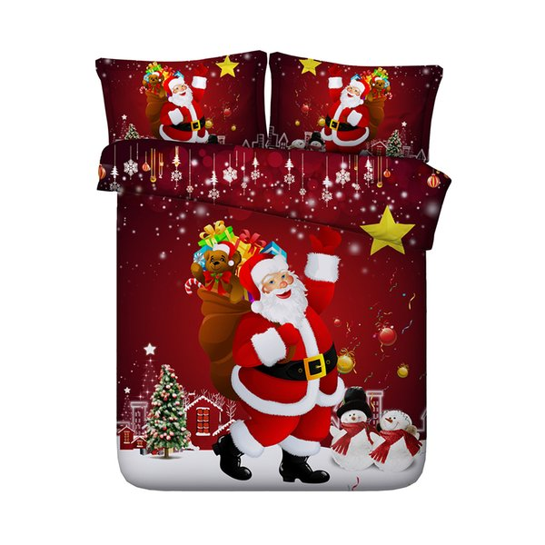Galaxy coverlet Santa Claus Duvet Cover Christmas Tree Snow 3-Piece Snowflakes Bedding Quilts Cover With 2 Pillow Shams Set Multicolor