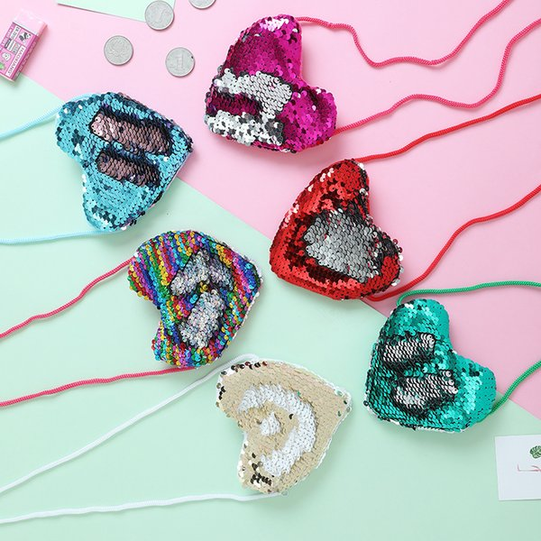 top popular Little Girl Love Heart Shape Reversible Mermaid Sequins Mini Coin Purses With Lanyard Cute Zipper Coin Keys Storage Bags 2019