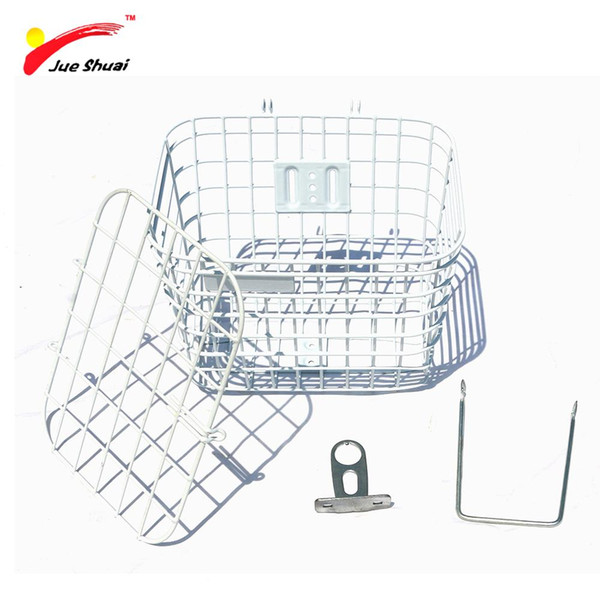 Bike Bicycle Basket with Holder Cover Lid Large Capacity Steel Mesh Bottom Lift Off Basket Bag Riding Cycling Accessories