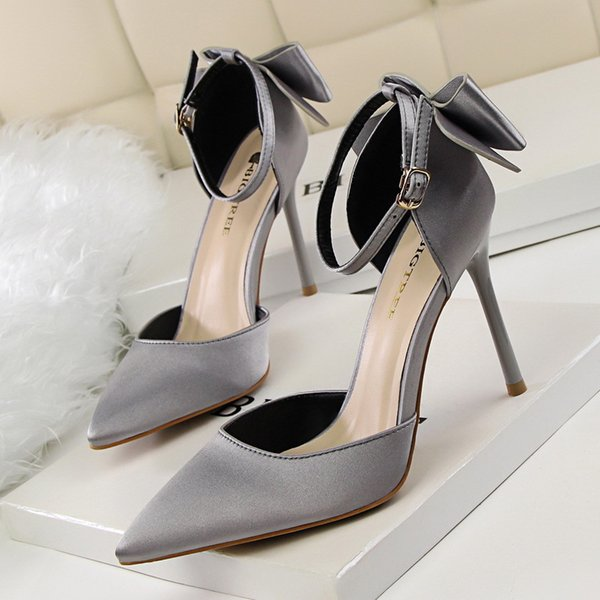 Dress Ladies Heels New 2019 Fall Extreme Sexy Kitten Pink Pointed Silver Platform Shoes Woman Fashion Brand Buckle Wedding Silk Heels