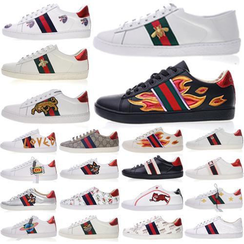 2019 Sapatos De Grife De Alta Qualidade Ace bordado Abelha Listras Sapato Das Mulheres Dos Homens Sapatos Casuais Abelha Listras Sapatos quentes