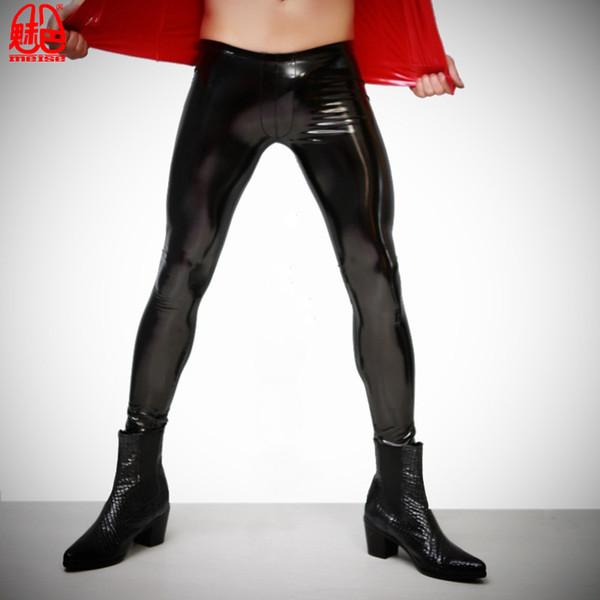 Womens PU Leggings PVC Leather Stretch Trousers Ladies Long Black Pants 8-14