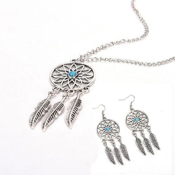 Free DHL Bohemian Dream Catcher Tassels Feather Pendant Necklace Earrings Jewelry Sets Good Luck Chokers For Women Girls Birthday Gift B987F