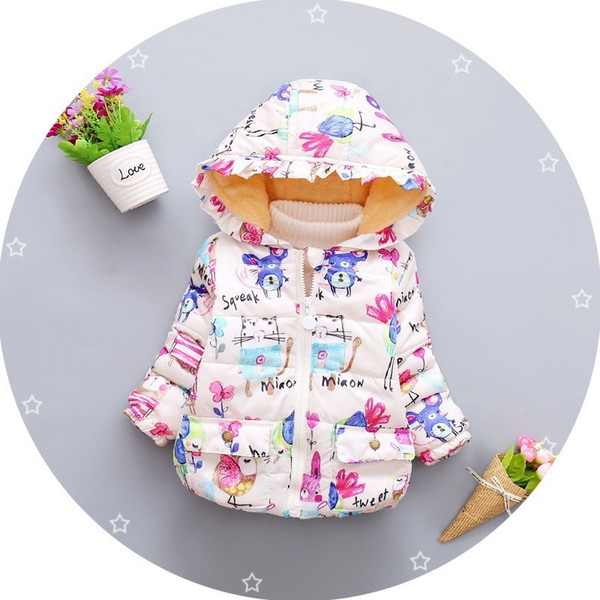 good quality Toddler girls winter jacket coat children autumn outerwear baby girl cartoon figure graffiti warm kids cotton down coat