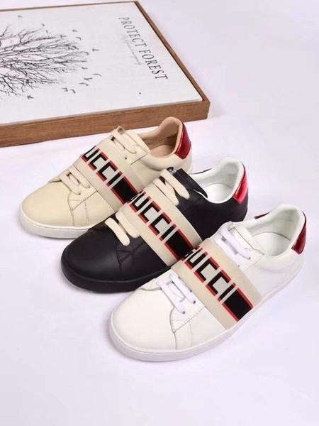 En Kaliteli Kadın Mektup Şerit Rahat Ayakkabılar Hakiki Deri Rahat Spor Ayakkabı Kutusu Ile Sneakers 35-41