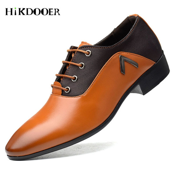 New Arrival Men Formal Shoes Breathable Lace-up Flat Business Pointed Toe Wedding Shoes PU Leather Male Dress #7908