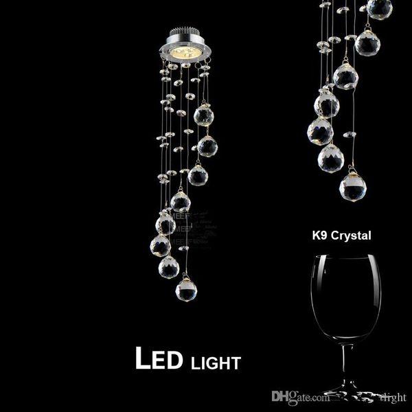 3 watt lampadario di cristallo LED per le lampade a spirale di cristallo di lustro lampada di cristallo di luce per il Corridoio Corridoio Portico Scalinata di illuminazione